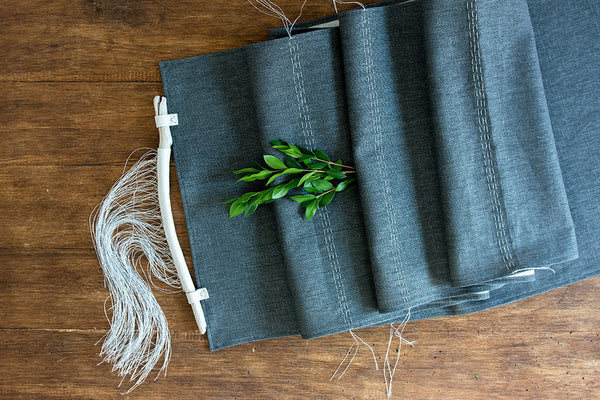 Smoke + Silver Linen Table Runner