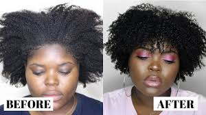 A black woman with natural hair showing a side profile. A picture on the left shows her with dry hair and a picture on the right shows her with moisturized hair. She is standing against a grey background.