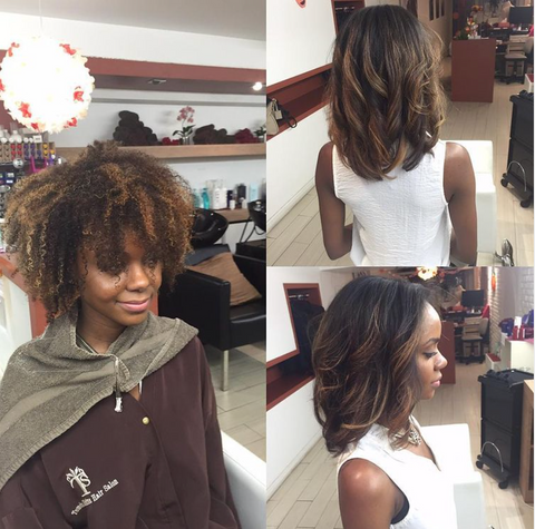 An Instagram post of a blow out process from start to finish. Left picture shows a natural fro. Right two pictures are showing the blowout process. The last bottom right photo shows the hair straightened. There are a total of three pictures in this collage.