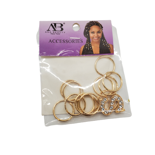 Ana Beauty Alphabet Braid Jewelry with Gold Rings