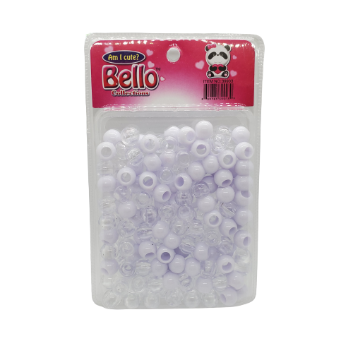 Bello Collections Hair Beads-White/Clear #39903