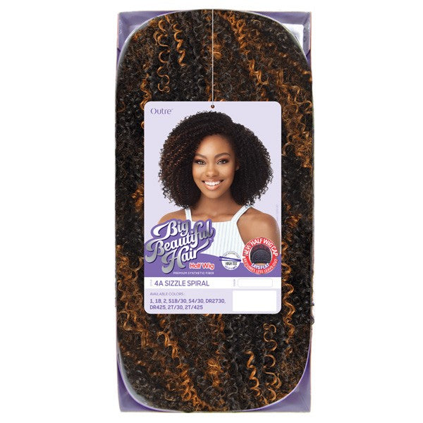 Outre Synthetic Big Beautiful Hair Half Wig-4A Sizzle Spiral - Beauty Bar & Supply