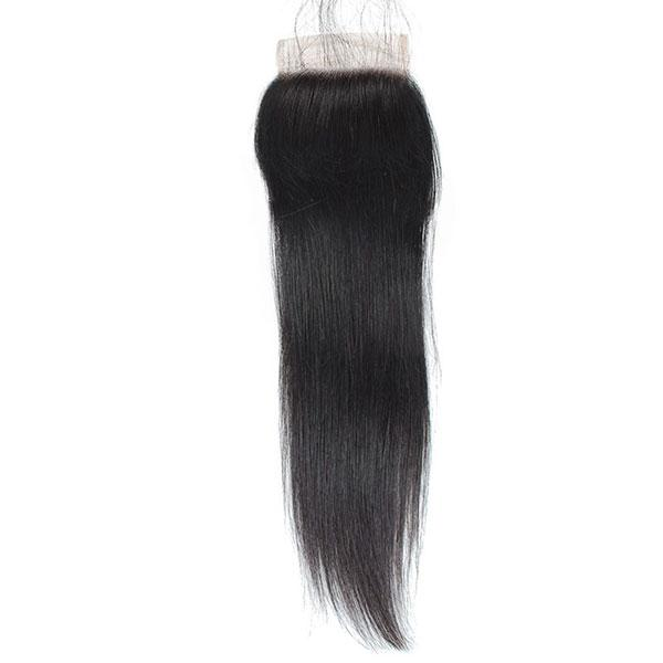 BBS Grade 8 Virgin Human Hair Straight Natural 4x4 Closure - Beauty Bar & Supply