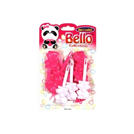 Bello Collection Bow Barrette-Pink/Light Pink/White #28422