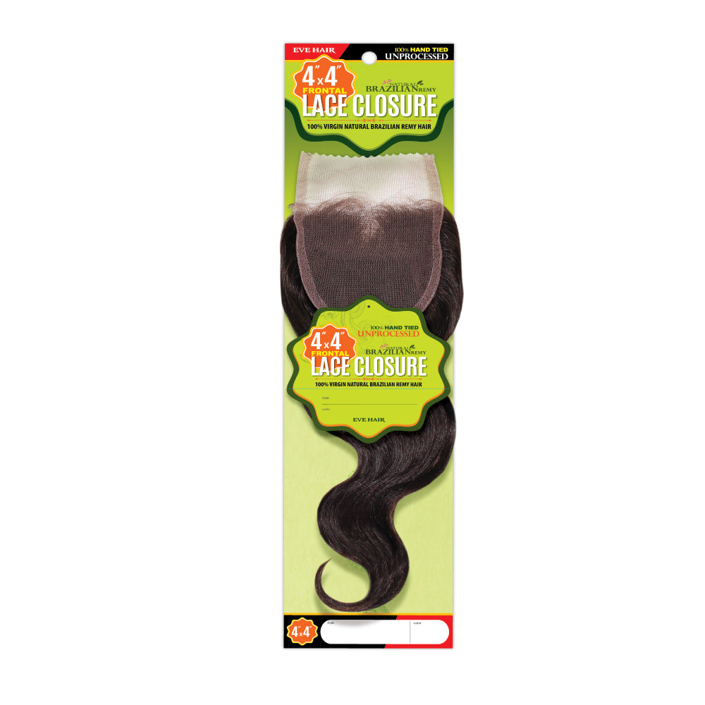 "Eve Hair Brazilian Remy 100% Human Hair Body Wave Lace Closure 12"" - Beauty Bar & Supply"