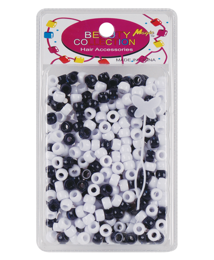 Beauty Collection Round Bead 8mm Black & White - Beauty Bar & Supply