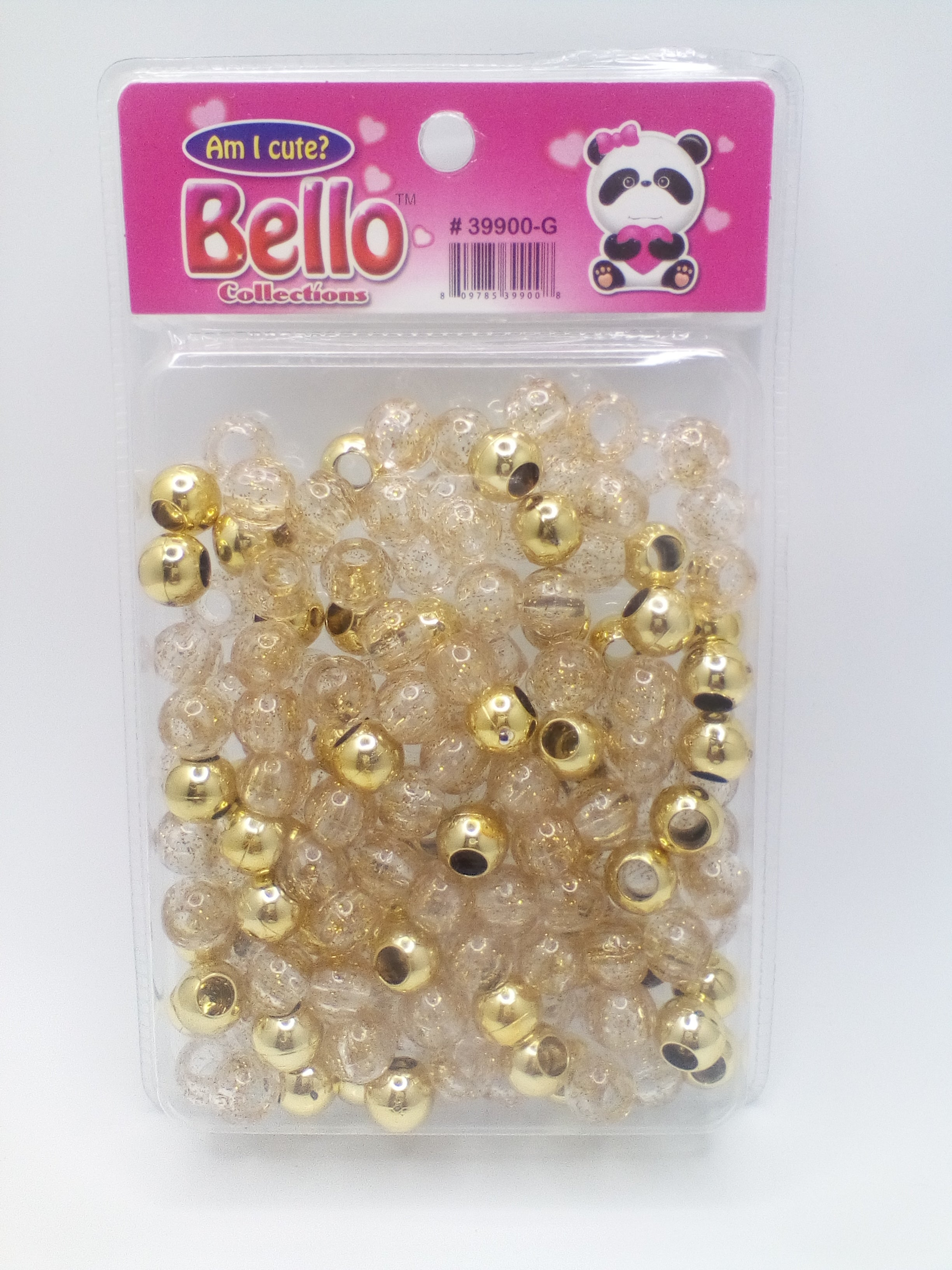 Bello Collection Jumbo Hair Beads-Clear/Gold #39900G - Beauty Bar & Supply