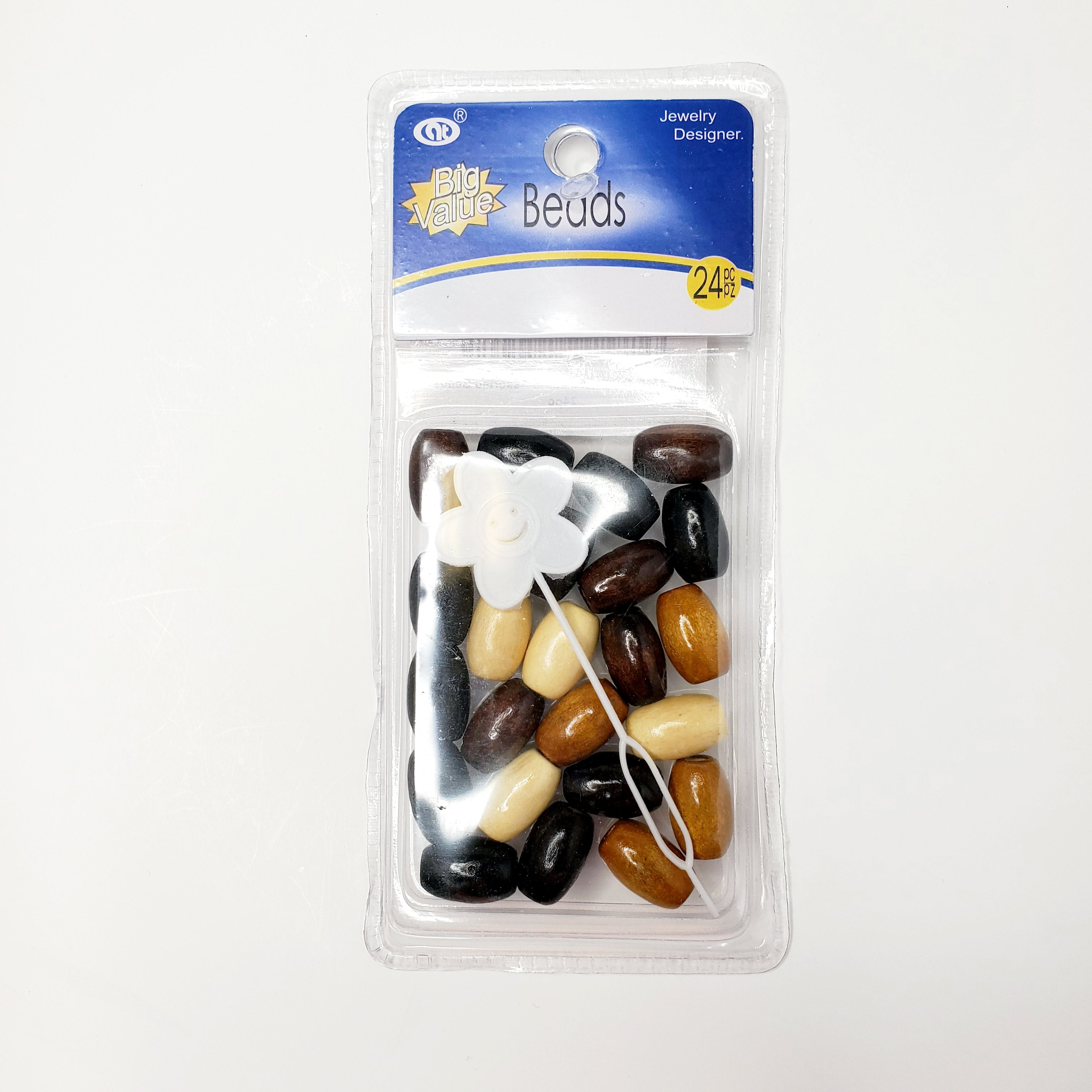 Big Value Wooden Natural Assorted Beads 24pc - Beauty Bar & Supply