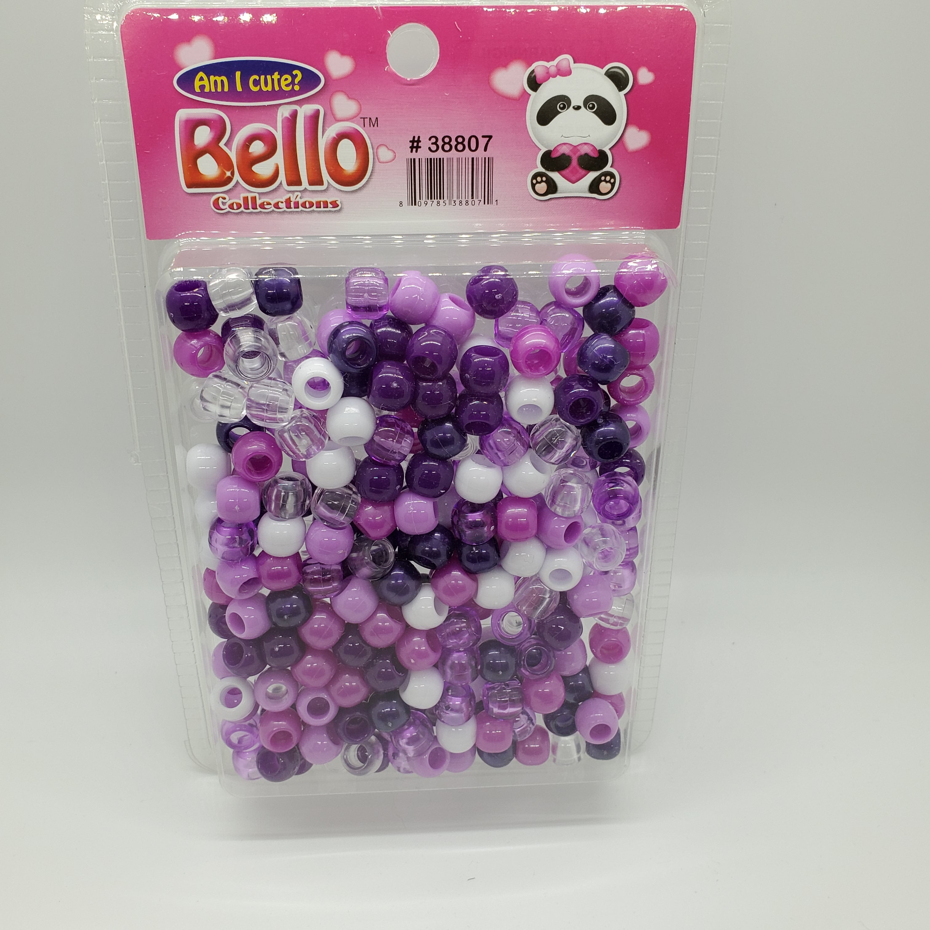 Bello Collection Beads Clear/White/Purple #38807 - Beauty Bar & Supply