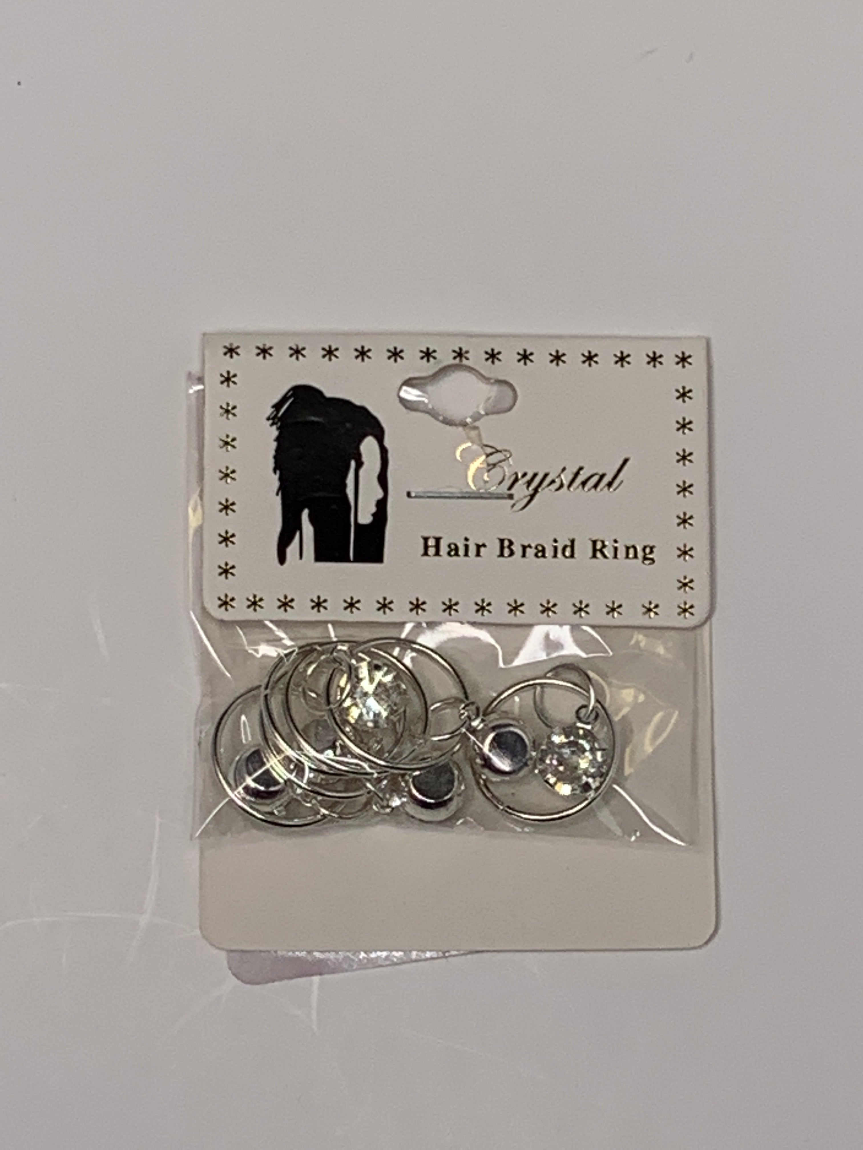 Crystal Hair Braiding Silver Ring with charm crystal - Beauty Bar & Supply