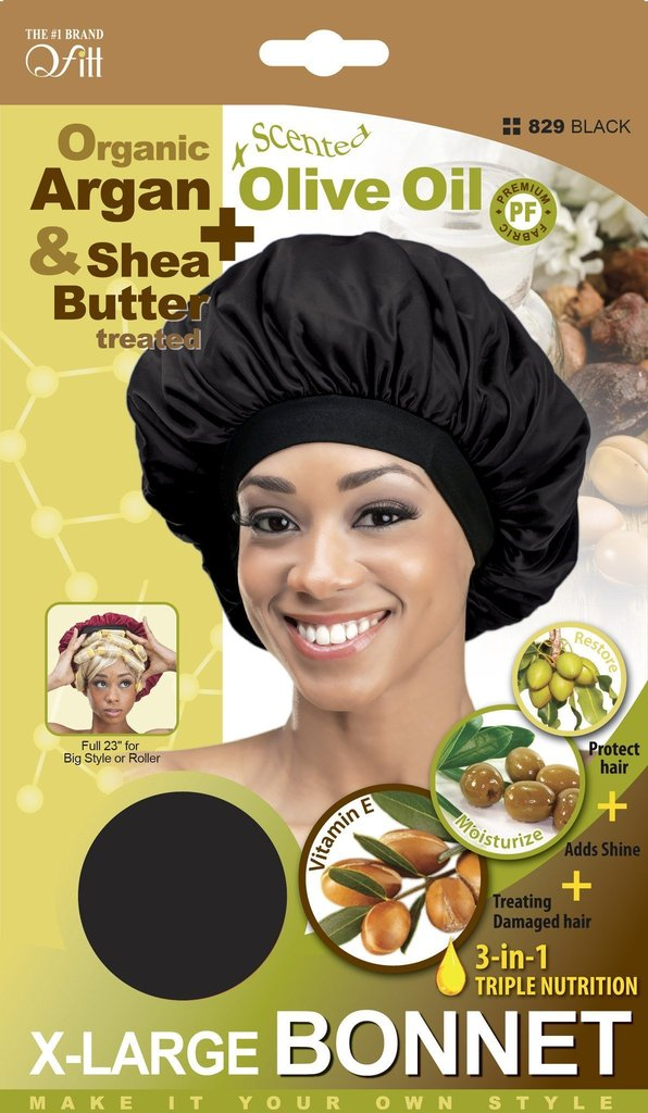 Qfitt Organic Argan & Shea Butter Olive Oil Scented X-Large Bonnet Black #829 - Beauty Bar & Supply