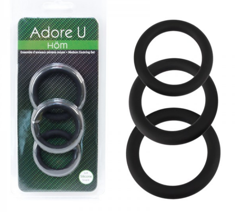 Adore U 3 Black Ring Set