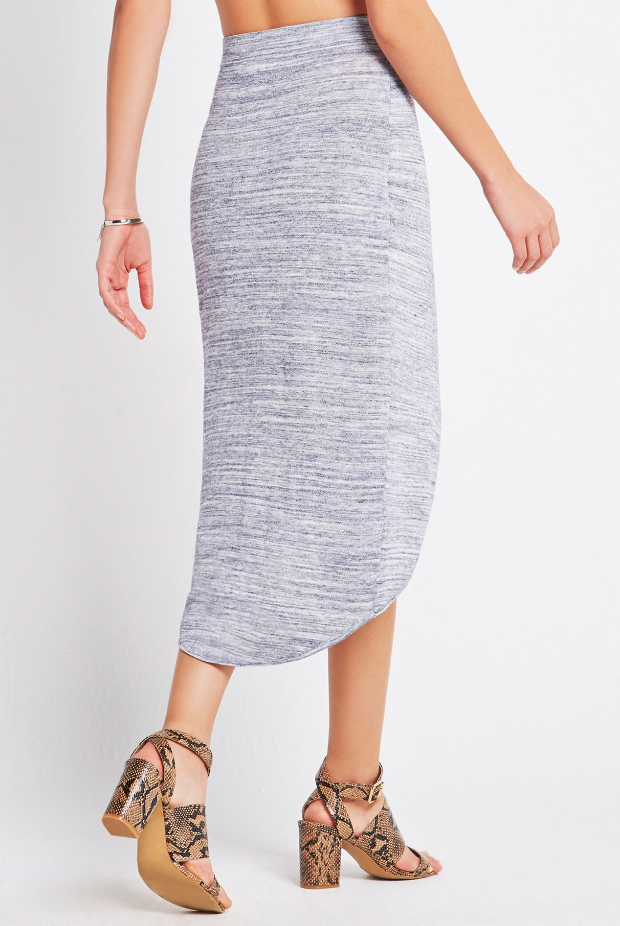 Melange Knit Wrap Skirt