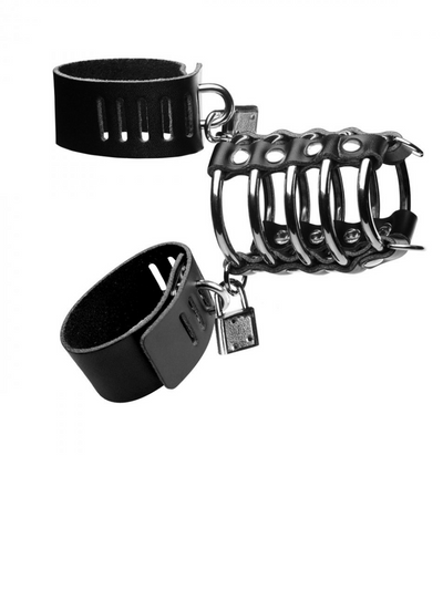 5 Ring Chastity Device with Cock and Ball Strap