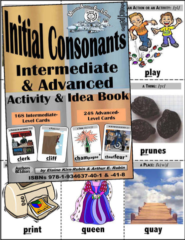 INTERMEDIATE INITIAL CONSONANTS, Level 3, Intermediate with 168 Card Deck + 76 Page Activity & Idea Book