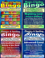 Phonics & Spelling Bingo Activities; 4 Skill Levels (Basic, Beginning, Intermediate, Advanced) & Ideas Books