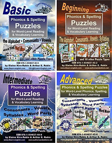 Phonics & Spelling Puzzles, 4 Levels = Basic, Beginning, Intermediate, & Advanced, for Reading, Writing, & Vocabulary Building