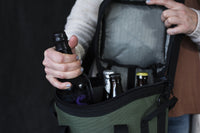 The quad wine insulated bottle/bomber cooler keeps 4 bottles safe and cold on the go!