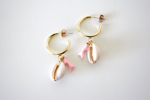 Coral shell earring