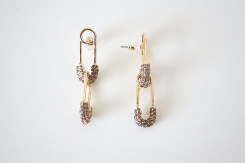 Safety pin earrings champagne