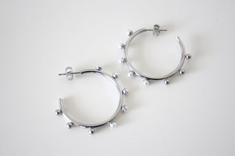 Pearl hoop earrings silver