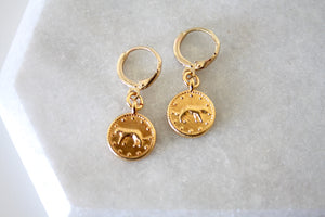Leopard coin earrings