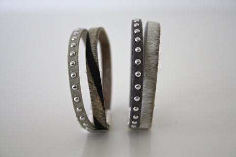 Leather and stud bracelet - Atelier Kollee