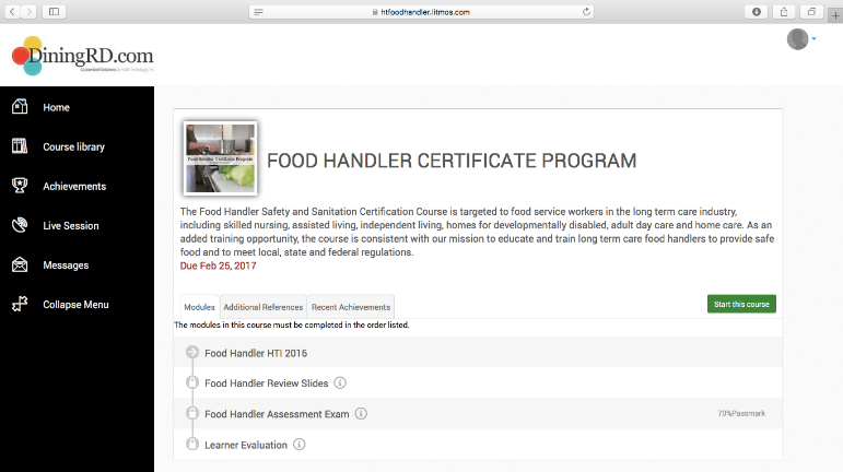 Online Food Handler Certificate Program Health Technologies Inc