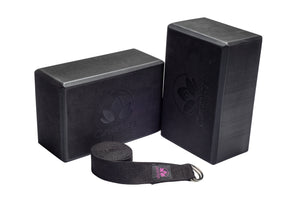 Lightweight Foam Yoga Block and Sturdy Yoga Strap Set