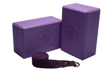 Load image into Gallery viewer, Lightweight Foam Yoga Block and Sturdy Yoga Strap Set