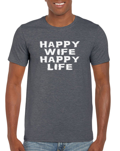 The Red Garnet Happy Wife Happy Life Husband T-Shirt Gift Idea For Men