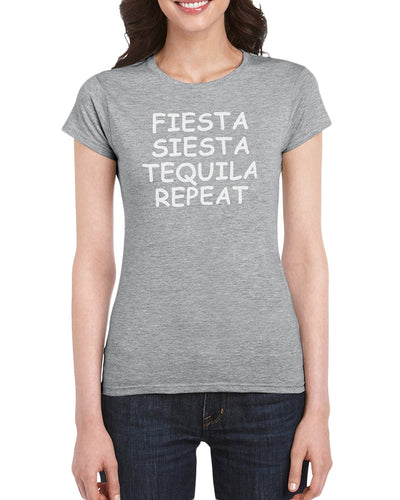 The Red Garnet Fiesta Siesta Tequila repeat T-Shirt Gift Idea For Ladies or Moms Birthday