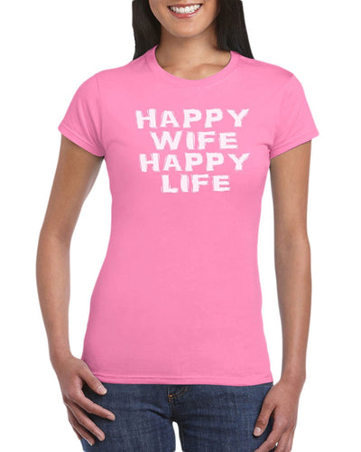 Happy Wife Happy Life T-Shirt Gift Idea For Newlywed - Wedding Engagement