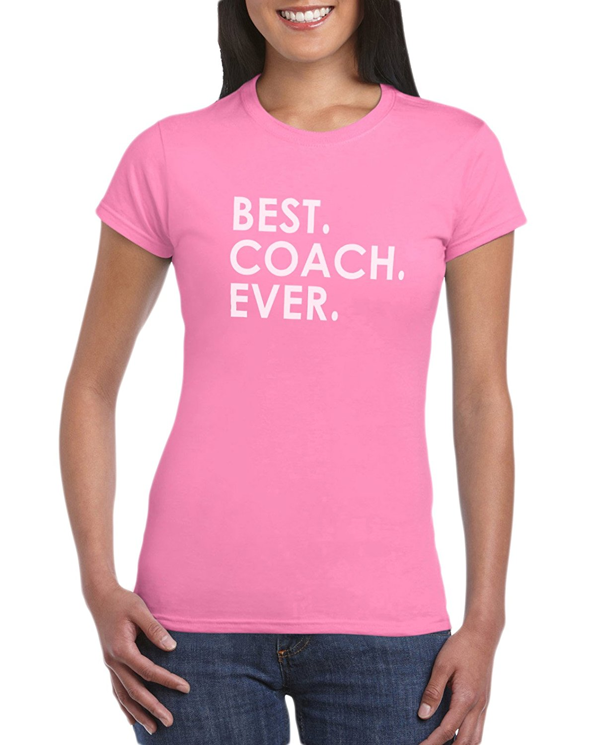 The Red Garnet Best Coach Ever T Shirt Gift Idea For Ladies Sports Mom