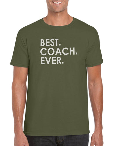 The Red Garnet Best Coach Ever T-Shirt Sports Dad Soccer Baseball Football or Team Family