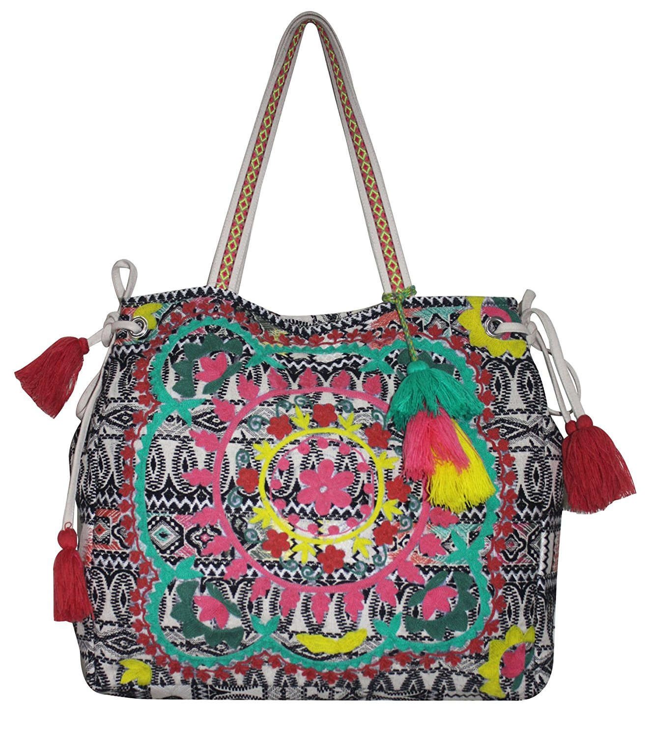 04bc1031973 Floral Embroidered bag Linen Cotton Thread Tote Bag