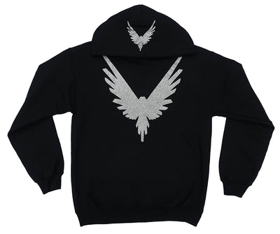 Logang Logan Paul Maverick Adult Black Hoodie (Silver Glitter Bird Logo)