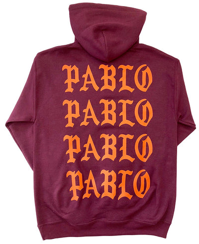 I Feel Like Pablo Pablo Pablo Maroon Hoodie (Orange Ink)