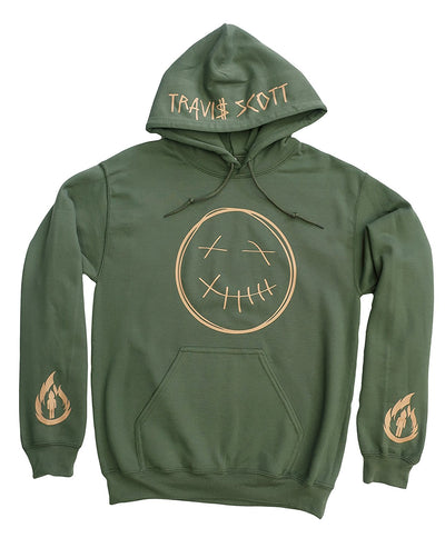 Travis Scott Green Hoodie, Rodeo Merch,Travis Scott Merch (Tan Smiley Face Logo and Flame Logo On Arms With Name On Hood)