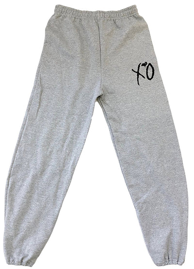 Sports Grey XO Sweatpants and Hoodie (Black Logo)