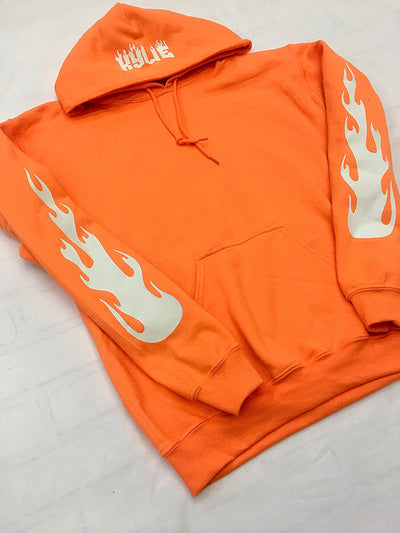 Kylie Jenner Safety Orange Hoodie With Bright White Flames On Sleeves and Kylie On Hood