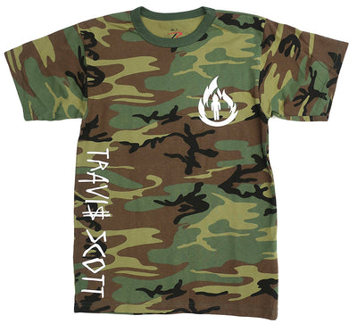 Travis Scott, LA Flame Logo, Camouflage T-Shirt (White Logo)