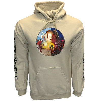 Travis Scott merch Astroworld face logo Hoodie Sand