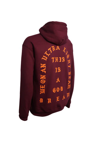 I Feel Like Pablo Light Beam God Dream Adult Maroon Hoodie (Orange Print)