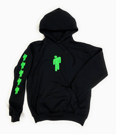 Billie Eilish Hoodie • Billie Eilish Black Hooded Sweatshirt with Green Design