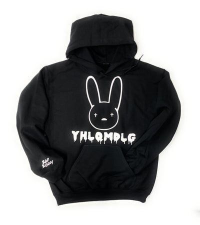 Bad Bunny Hoodie YHLQMDLG Black Hoodie White Design Bad Bunny on Sleeve