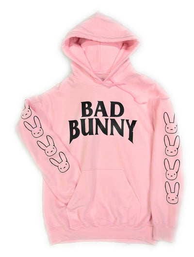 Bad Bunny Hoodie • Pink Hoodie Black Design Bad Bunny printed sleeve Hooded Sweatshirt