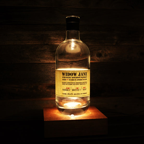 Widow Jane Bourbon Bottle Lamp, Stained Wood Base LED Illuminator with Remote Control, Upcycled Bourbon Bottle Lighting