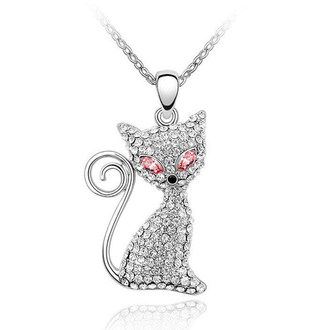 Crystal And Rhinestone Cat Pendant Necklace