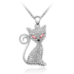 Crystal And Rhinestone Cat Pendant Necklace - Just Love Cats